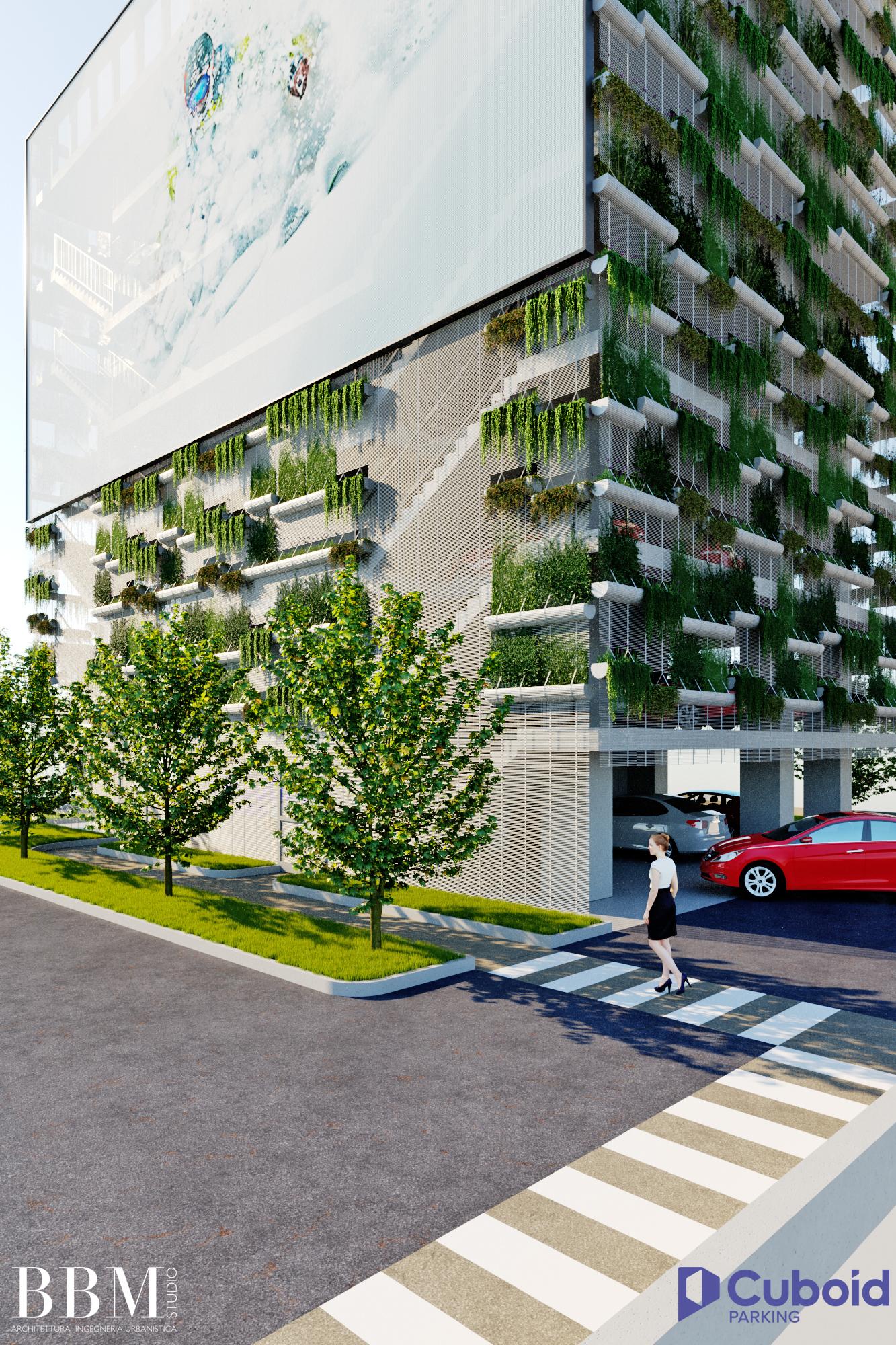 Cuboid Parking - Cuboid Zugang und Fassade